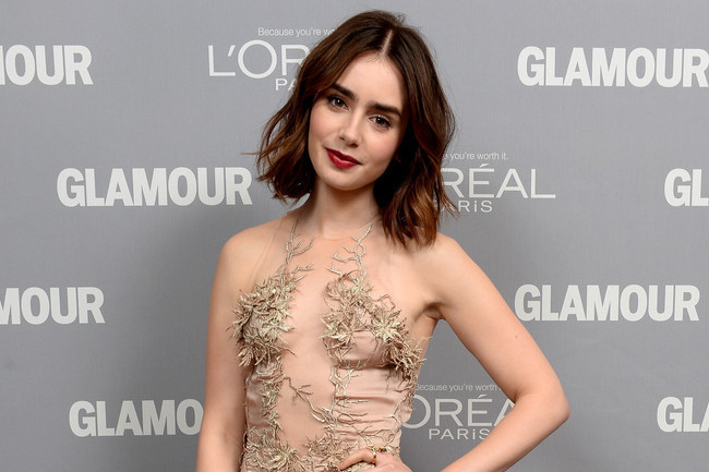 Lily Collins Perfect Pairing Nude Dress And Red Lips