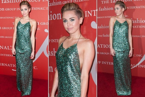 Miley Cyrus Sparkles in a Gorgeous, Glittery Green Gown