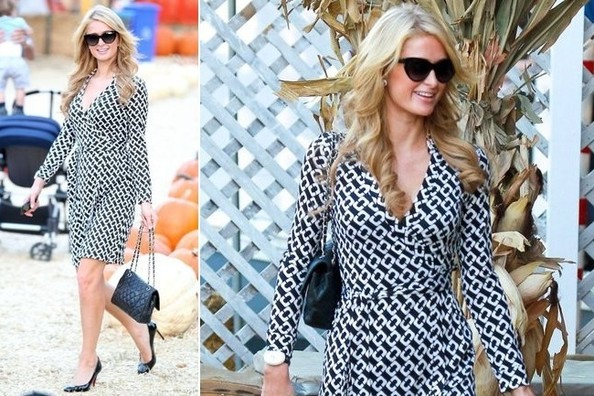 Paris Hilton Takes a Super Chic Stroll Through Mr. Bones Pumpkin Patch