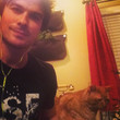 Ian Somerhalder rocks out with a cat.