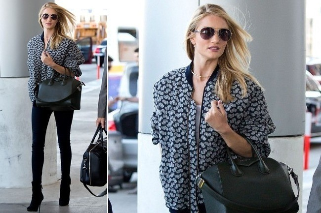 Rosie Huntington-Whiteley's Jet-Setting Bomber Jacket