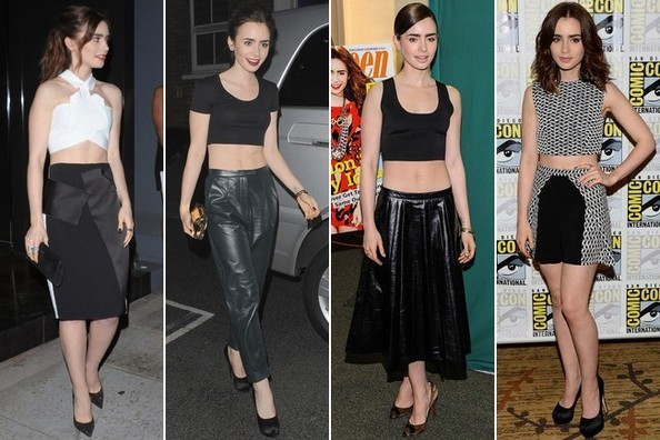 Lily Collins Really Hearts Crop-Tops