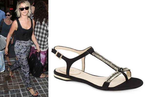 Julianne Hough's Cute Gold and Black T-Bar Flat Sandals
