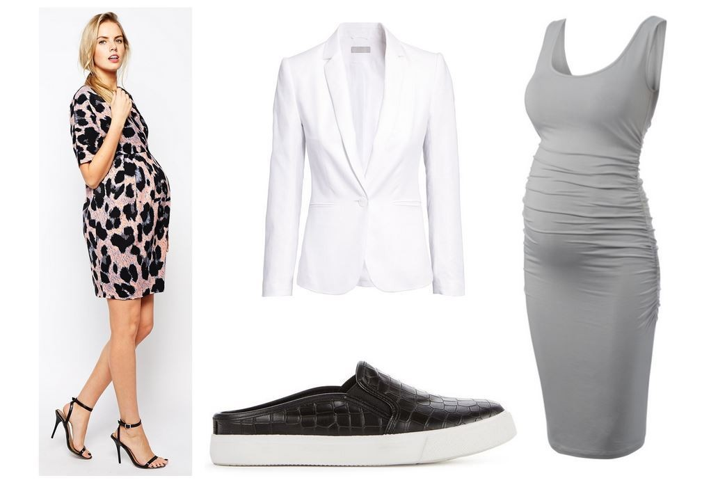 ASOS Maternity Wiggle Dress With Wrap Front in Animal Print, $87; H&M Linen-Blend Blazer, $50; JustFab Simmie Slide, $40; Isabella Oliver Ellis Maternity Tank Dress, $139