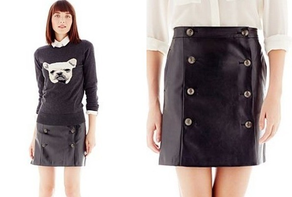 StyleBistro (Sale) STUFF: Faux Leather Button-Pleat Skirt ...