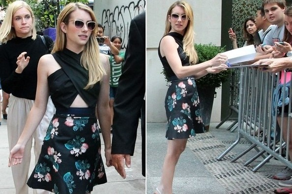 Let's All Copy Emma Roberts's Crop Top and Floral Skirt Combo