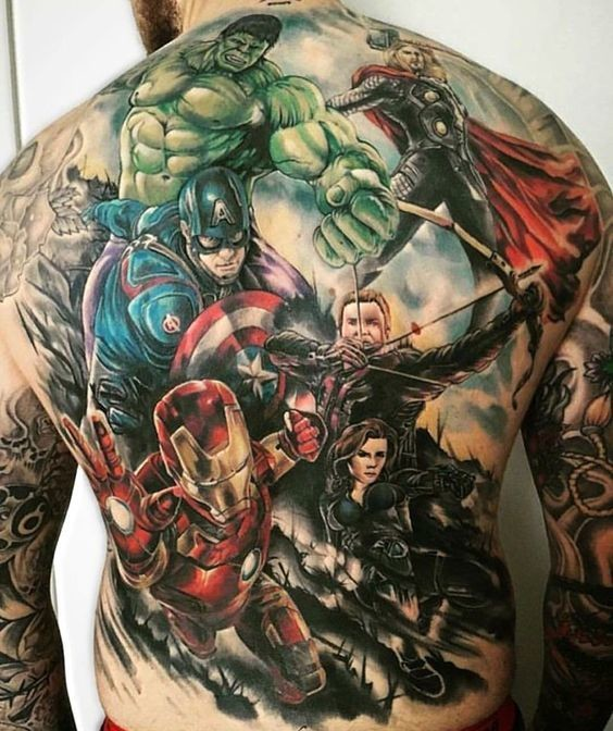 an avengers portrait you 39 ll never forget marvel tattoos that 39 ll make you want to be a. Black Bedroom Furniture Sets. Home Design Ideas