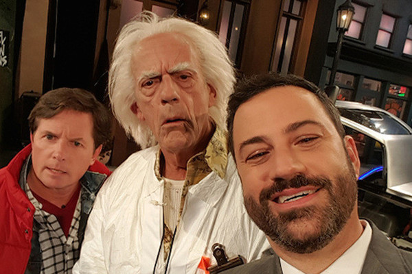 'Back to the Future' Stars Reunite on 'Kimmel' and Meet Bernie Sanders