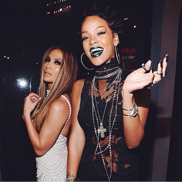 Only Rihanna Could Rock Green Lipstick And Mini Buns