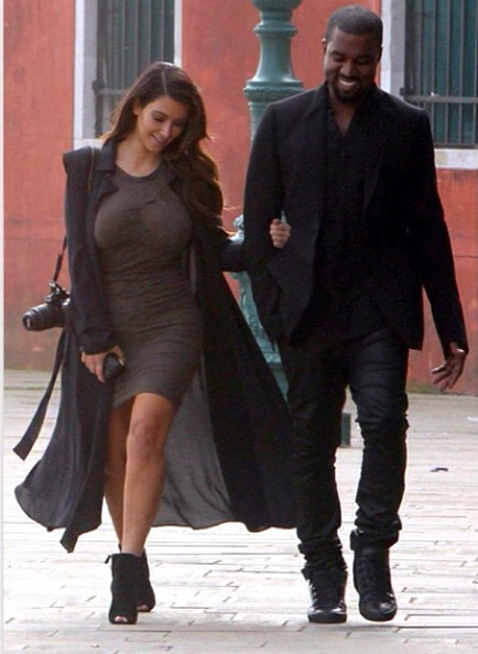 Kim and Kanye go for a stroll.