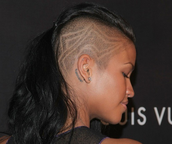 One cool thing to be said of Cassie's Alice Dellal haircut: she has fun with