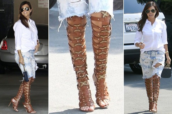 Obsessed! We're Totally Into Kourtney Kardashian's Over-the-Knee Gladiator Sandals