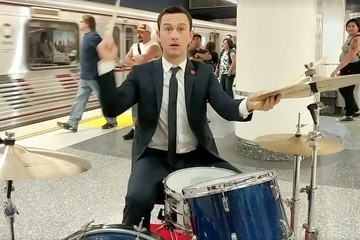 Will Somebody Please Notice Joseph Gordon-Levitt Playing Drums in a Subway?