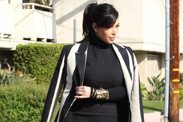 Kim Kardashian's Sharp Striped Blazer