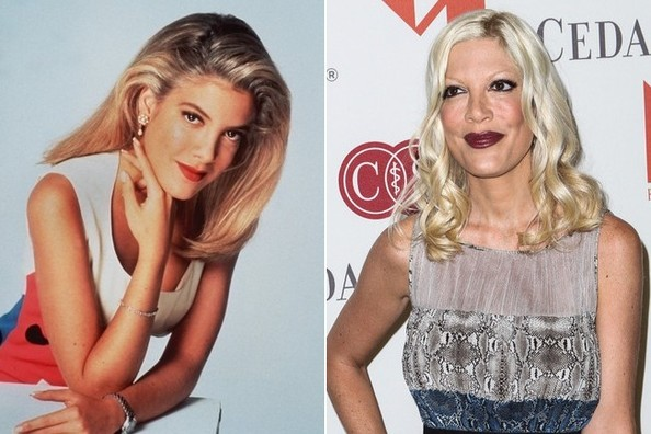 Tori Spelling then and now