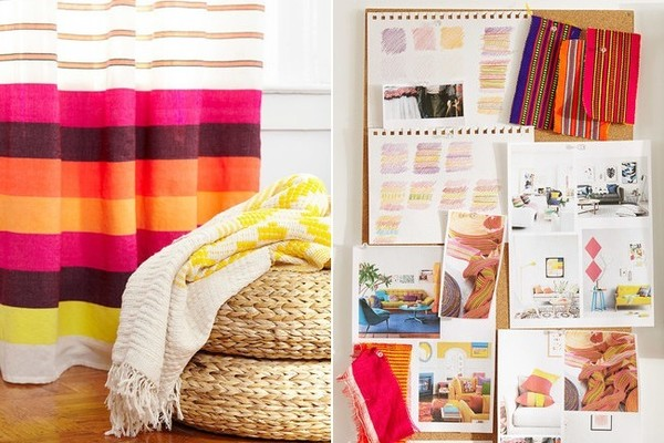 "A striped curtain, from Bolé Road's newest color-laden category, mingles with the brand's signature Sunflower Throw. On the right, an inspiration board. ""I always pin up the original textile that inspired my collection,"" says Getachew of the bold ribbon that served as Konso's inspiration. ""I keep it in view to remember where I started."""