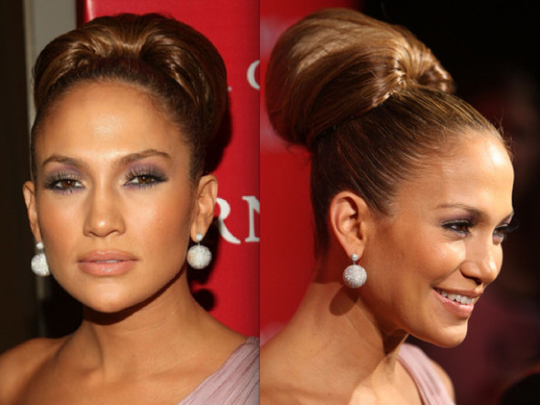Go sleek and elegant with J-Lo's high bun hairstyle.