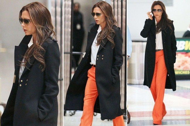Victoria Beckham Wears Bright Orange Pants, Looks Fab