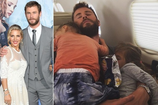 Chris Hemsworth Snuggles With His Babies During Nap Time in Adorable New Family Photo