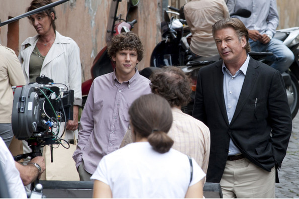 "Actors Alec Baldwin and Jessie Eisenberg are seen on set of his new movie ""Bop Decameron"".  It is reported that Jessie Eisenberg will star along side ""Departed"" star Alec Baldwin and Penelope Cruz."