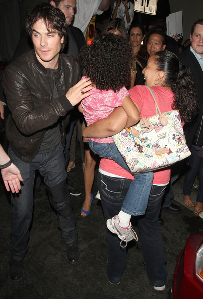 Actors Ian Somerhalder, Nina Dobrev and Paul Wesley from the show 'The Vampire Diaries' seen getting mobbed by fans while leaving the Hard Rock Cafe at Comic-Con 2012 in San Diego. At one point Ian Somerhalder was seen kissing a fans young baby much to the delight of her mother.