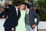 Denis Menochet, Tahar Rahim and Rebecca Zlotowski attend the photo call for 'Grand Central' at the 66th Cannes Film Festival in Cannes.
