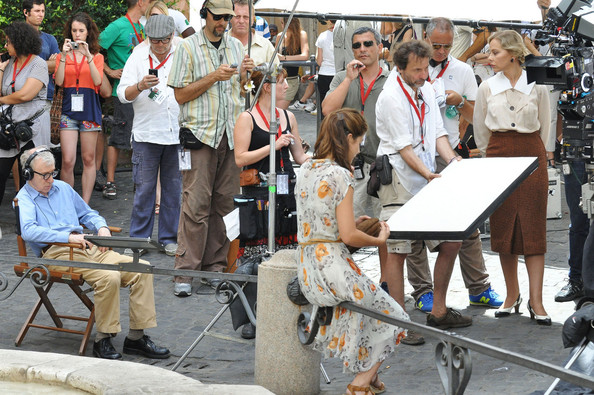 "Actresses Ornella Muti, Alessandra Mastronardi and Woody Allen on set of his new movie ""Bop Decameron"" in Italy."