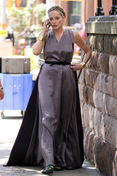 "Actress Sharon Stone is seen in character while on set of her new movie ""Gods Behaving Badly"" in NYC.  It was reported that a stalker was arrested outside of Stone's house in Hollywood earlier this August.   Stone obtained a permanent restraining order against ""mentally ill"" Bradley Gooden who entered her house earlier this year."