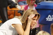 Actress and star of 'Curb Your Enthusiasm' Cheryl Hines seen with her daughter Catherine Rose at the Mr Bones Pumpkin Patch in Hollywood.