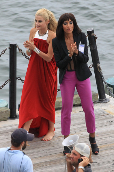 "Actresses Annie Ilonzeh and Rachael Taylor film a scene for the new TV show ""Charlie's Angels"" in Miami."