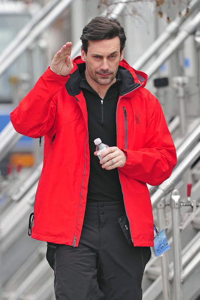 """Mad Men"" actor Jon Hamm wears a bright red snow jacket while walking on the set of his new film ""Friends with Kids"", shooting on location in the Bronx. Hamm, who was wearing snow pants and boots, filmed a skiing scene with co-star Megan Fox."
