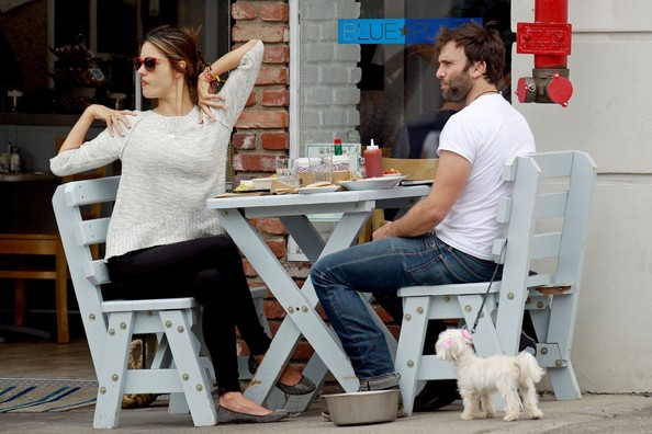 Alessandra Ambrosio and husband Jamie Mazur take their dog for a walk to get some breakfast in Santa Monica. The supermodel, who recently gave birth to a son named Noah, could be seen chowing down as the couple ate on the patio outside the restaurant.