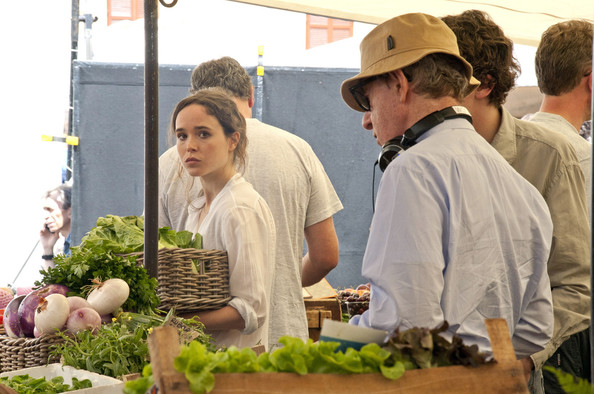 "Ellen Page is directed by Woody Allen on the new movie ""Bop Decameron""  filming all afternoon at the fruit and vegetable market in Rome."