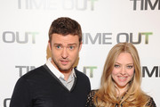 "Amanda Seyfried and Justin Timberlake at the French photocall for the movie ""Time Out"", held at the Hotel Bristol, Paris."