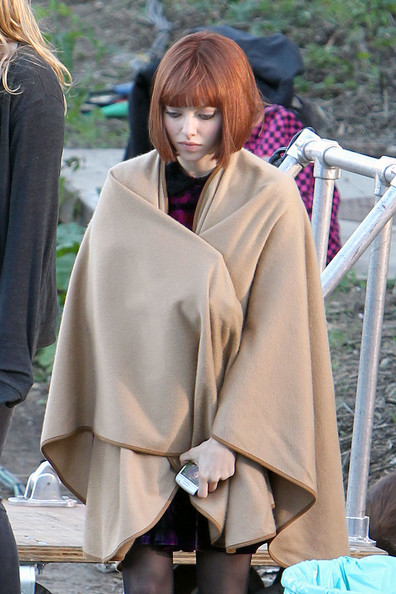 "Amanda Seyfried hangs out on the set of her upcoming movie ""Now"", filming in Pasadena. Seyfried, who was sporting a short, red wig, was spotted filming a scene with co-star Justin Timberlake inside of a car."