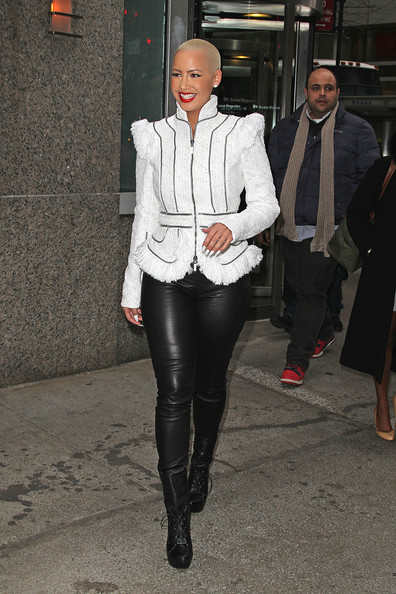 Amber Rose - Amber Rose in Leather Pants