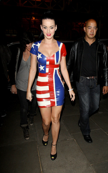 American singer Katy Perry wearing a sexy PVC half and half American/English flag dress as she returns back to her London Hotel after having dinner with friends at Mayfair's Nobu Restaurant.