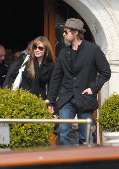 Angelina Jolie and Brad Pitt Board a Canal Boat in Venice