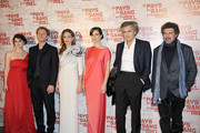 """Vanesa Glodjo, Goran Kostic, Angelina Jolie and Zana Marjanovic attends the french premiere of the movie """"In The Land Of Blood And Honey"""" held at the Cinema MK2 Bibliotheque, Paris."""