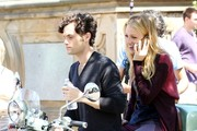 Actress Blake Lively and co-star Penn Badgley team up to film a scene for