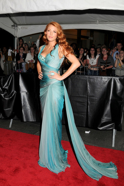 """Blake Lively showcases her new auburn locks on the red carpet for the presitgious Time 100 Gala, held at the Frederick G Rose Hall in New York City. Dressed in a stunning turquoise gown, the """"Gossip Girl"""" star showed she was bang on-trend with a """"dagger nails"""" manicure. The event showcased Time magazine's 100 Most Influential People in the World."""