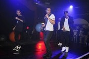 Boyband JLS seen performing live in concert at the G.A.Y Nightclub in London..