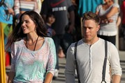 British pop star and former 'X Factor' runner-up Olly Murs films his latest music video as he tries to seduce a sexy brunette female co-star while on Venice Boardwalk. As Olly tries to serenade the hot girl with a rose amongst other street performers the shoot turns into a flash mob style which ends with Olly eventually getting the girl and kissing her. The schedule was a one day shoot.