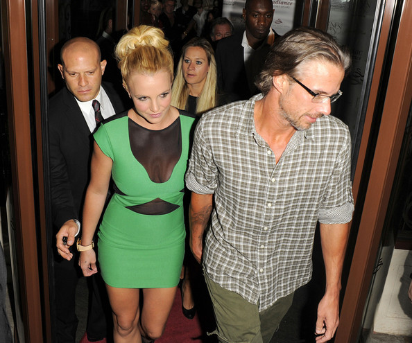 Britney Spears Britney Spears and her boyfriend Jason Trawick arrive to the Sanctum Hotel in London for Britney's European Tour launch party. The two then headed back to their hotel after the party.