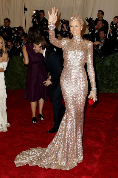Karolina Kurkova sparkles on the red carpet at the Met Gala at the Metropolitan Museum of Art in NYC.