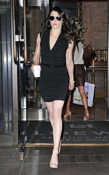 "ALL CHANGE! Rachel Weisz dons yet ANOTHER outfit to make an appearance on the ""The Daily Show"" with Jon Stewart. Mrs Daniel Craig headed back to her New York hotel in a blue dress she had worn for an earlier appearance on the ""Charlie Rose Show"", then re-emerged clutching a coffee and wearing a classic Little Black Dress. Weisz, who is doing the talk show rounds to promote her latest movie ""The Whistleblower"", was also spotted Wednesday outside the ""Late Show with David Letterman"" in a racy red dress."