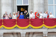 Prince Edward, Earl of Wessex, Lady Louise Windsor, James Viscount Severn, Sophie, Countess of Wessex, Camilla, Duchess of Cornwall, Prince Charles, Prince of Wales, Sir Timothy Laurence, Queen Elizabeth II, Prince Andrew, Duke of York, Prince Harry, Catherine, Duchess of Cambridge and Prince William, Duke of Cambridge, Princess Eugenie and Princess Beatrice stand on the balcony during the annual 'Trooping the Colour' ceremony at Buckingham Palace in London.