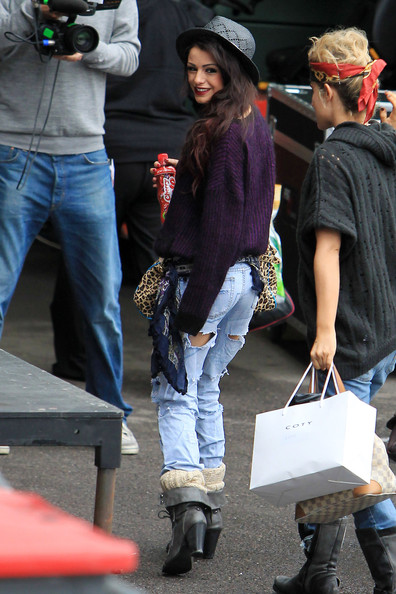 "Cher Lloyd and Katie Waissel look relaxed as they arrive at the ""X Factor"" studios ahead of tonight's live show."
