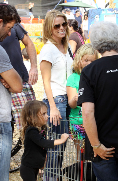 Actress and star of 'Curb Your Enthusiasm' Cheryl Hines seen with her daughter Catherine Rose at the Mr Bones Pumpkin Patch in Hollywood []