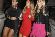"Lauren Goodger, Lauren Pope and Frankie Essex from ""The Only Way Is Essex"" leaving a party at Il Bottaccio restaurant in London."